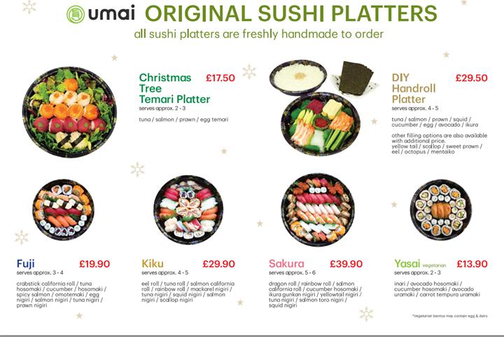 Christmas sushi platters