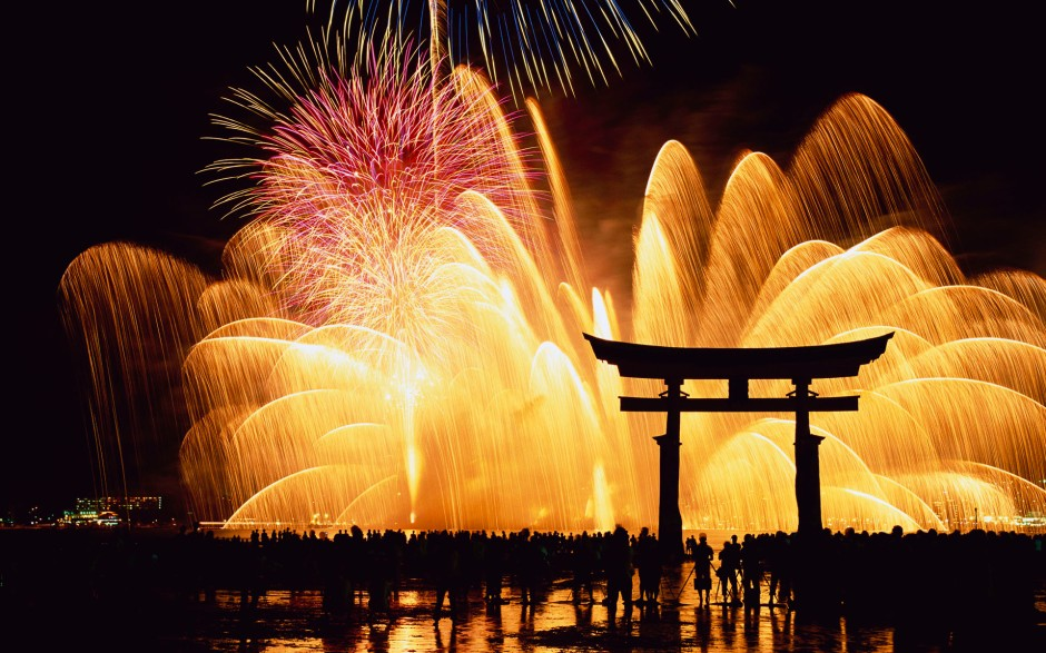 Fireworks Display at Torii Gate