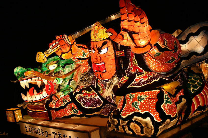 Aomori, Japan - August 3rd, 2004: Paper monsters at the August Nebuta Matsuri (Festival) in Aomori in Northern Japan.